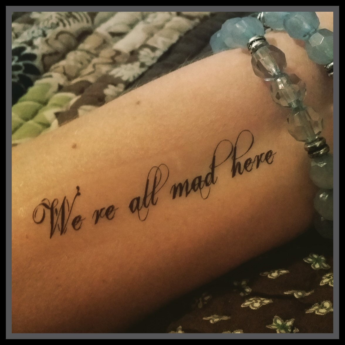 tattoo quote alice in wonderland quote we 39 re all mad here. Black Bedroom Furniture Sets. Home Design Ideas