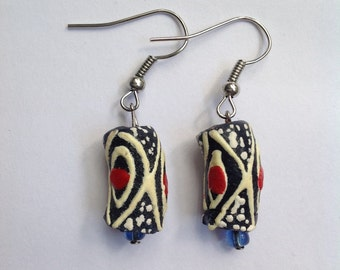 Navy Blue & Red Diamond Designed Earrings