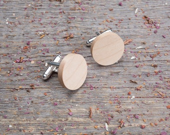 Wooden Cufflinks, monogrammed Round maple wood cufflinks, Wedding groomsman gift set, cufflinks for men, groomsmen cufflinks, boyfriend gift