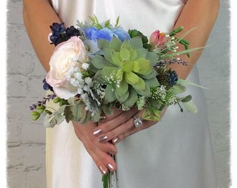 Wedding Bouquet, Bridal Bouquet, Succulent Bouquet, Blush Bouquet, Artificial Bouquet, Silk Bouquet, Corsage, Boutonniere