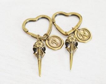 bird skull key chain, bird charm key chain, witchcraft, goth gothic, bird skull jewelry, hummingbird key chain, heart jewelry, monogram Gift