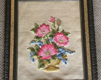 """Vintage Crewel Embroidery Framed Floral 18""""x15"""""""