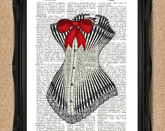 Steampunk Corset Print with Red Ribbon Bow on Vintage Dictionary Paper A072