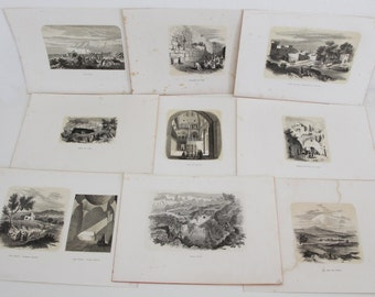 HOLY LAND ISRAEL Jerusalem Wall of Crying  - rare 19th Century Antique Print Lot - 9 x Antique Prints  (B4)
