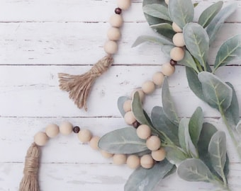 Raw & Walnut Wood Bead Farmhouse Garland