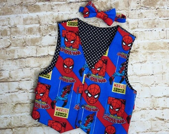 Boys Spiderman Outfit  - Superhero Birthday - Toddler Vest Set - Baby Bow Tie - Spiderman Costume - Toddler Boy Clothes  - 12 mo to 8 yrs