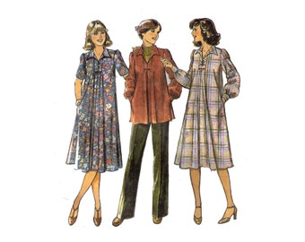 Style 2381, 70s sewing pattern, size 12 women's maternity dress, maternity pants, collared top