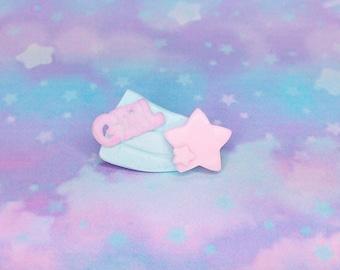 Fairy Kei Sweet Girl Falling Stars Shooting Star Pastel  2-Way Brooch Hair Clip Barrette
