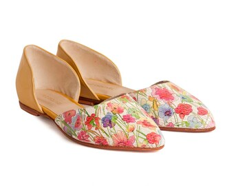 SALE - Leather shoes - Small size shoes - Women shoes - Flats - Handmade - Flowers