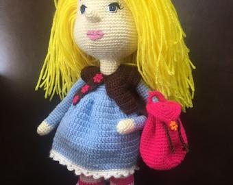 "Hand crafted 14"" Amigurumi Doll"