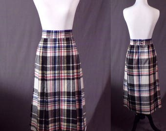Vintage 1980s Skirt - Plaid Pleated 1940s Style Skirt by City Square