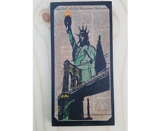 "New York City ""Statue & Bridge""on wood"