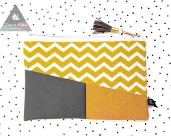 Zipper Pouch / Etui / Make Up Bag / Pencil Case : Chevron Mustard Yellow, Leatherette Gray, Tassel