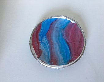 Jewelry Dish/Bauble Bowl (red, blue, white)