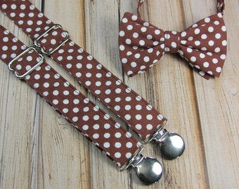 Brown and White Polka Dot Bow Tie and Suspender set ( Men, boys, baby, toddler, infant ) outfit