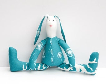 Stuffed bunny rabbit hare stuffed toy plush bunny doll softie animal toy turquoise white baby shower birthday gift  boy girl