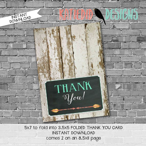 rustic baby girl shower invitation mint coral boho baby shower tribal arrow boots bows THANK YOU CARD folded notecard 1439 Katiedid Designs