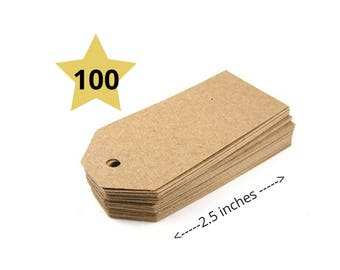 100 Kraft Tags - Party Favor Tags - Blank Gift Tags - Shipping Tags - Party Favor Tags - Wedding Tags - Thank You Tags - Christmas Gift Tags