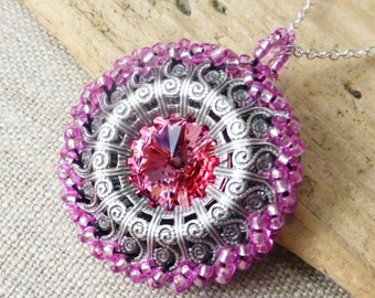 Pink Swarovski Crystal Beaded Necklace, Rose Pink Crystal Rivoli Pendant, Handmade Beaded Filigree Circle Pendant, Gift for Her