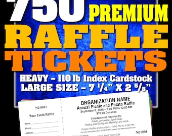 750 Premium Raffle Tickets, Customised, Perforated and Numbered