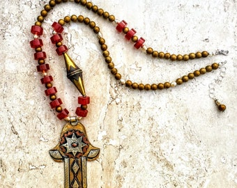 Long Hamsa Necklace, Moroccan Necklace, Mixed Metal Necklace, Red Gold Necklace, Long Ethnic Necklace, Statement Necklace, Khamsa Necklace