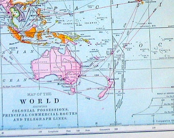 World Map  - 2 Pages - Antique Map Vintage Map 1907 Book Page from World Atlas