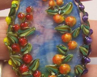 Handmade Lampwork Focal Bead  -Mixed Hollyhocks- SRA   S105