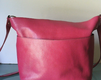 Made in Italy Hot Pink Pebbled Leather Shoulder Bag