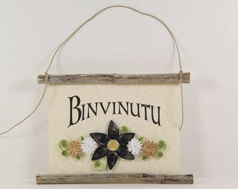 Binvinutu, Sicilian Welcome, Paper Quilled Sicilian Welcome Sign, 3D Paper Quilled Banner, Blue White Tan Decor, Sicily Gift, Sicily Decor