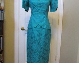 Vintage 1980's dress size 4 Scott Mcclintock teal Brocade below the knee cap sleeve dress GORGEOUS!!!