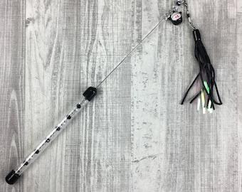 Cat toy   Black Maneki Neko, mylar and satin cat teaser toy with swarovski crystals   Sparkle cat tpy   Interactive cat toy  