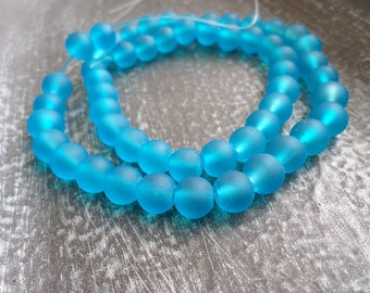 Sea Glass Beads Turquoise 8mm Rounds 16 in Strand