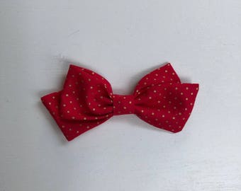Red and Gold Dot Bow