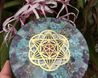 "Hoku Star Merkbah Mandala Orgone Charging Plate with Amazonite, Sugilite, Kunzite, Maifanite and more (6"" diameter)"