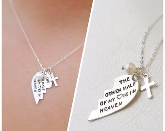 The Other Half of my Heart is in Heaven necklace, Silver remembrance necklace, infant loss, miscarriage, in memory of someone, cross charm