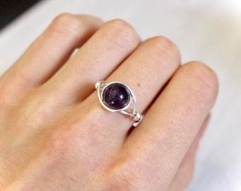 Amethyst gemstone ring, amethyst ring, wire ring, wire wrapped ring, silver wire ring, purple gemstone ring, stone ring, custom wire ring