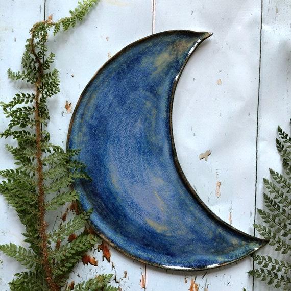 Large celestial stoneware moon platter dish