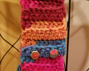 Childs Scarf w/wooden buttons. Red/orange/blue/pink