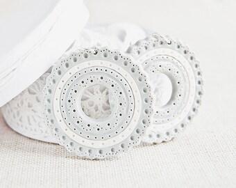 White gray earrings, hoop unique earrings