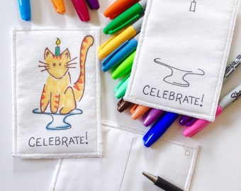 Kids Fabric Postcards - Kids Arts and Crafts - Kids Drawing - Kids Coloring - Fabric Crafts -  DIY Art - Party Favors - Party Craft