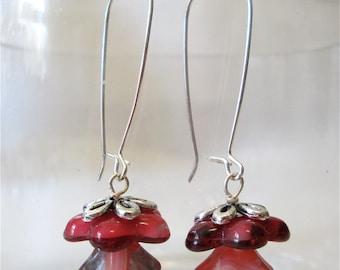 Red flower bead earrings