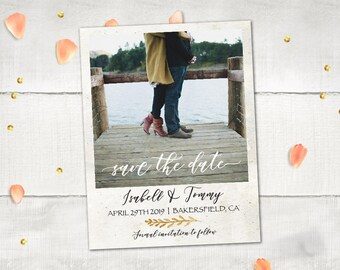 "Wedding Save The Date Magnets - HollaPark Modern Rustic Save The Date Photo Magnet Personalized 4.25""x5.5"""