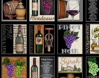 RJR Over a Barrel Dan Morris Wine Grape Cork Bottle Fabric BTY