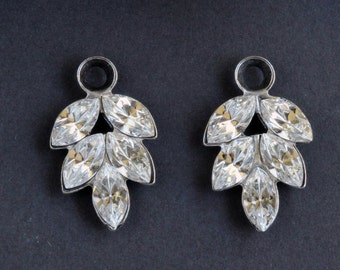 Swarovski Crystal Rhinestone Leaf Drop Charms, Oxidized Silver Brass Settings (2)