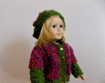 Doll Sweater and Hat Set, 18 Inch Doll Clothes, Doll Beret, Doll Cardigan, Birthday Gift, Toys, Knit