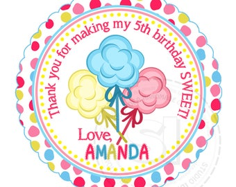"Custom Printable Cotton Candies Thank you Tags 2.5"" - Sweet Birthday Thank you Tag- DIY Personalized tags-Digital File"