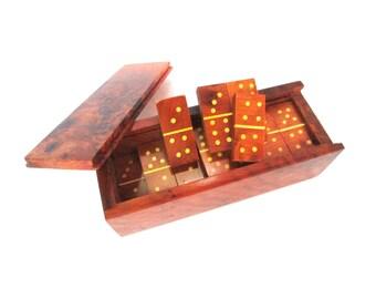Double 6 Dominoes set Thuya Burl Wood Domino set with box handmade domino game wooden burl domino wood tile game gift for her jeu de dominos