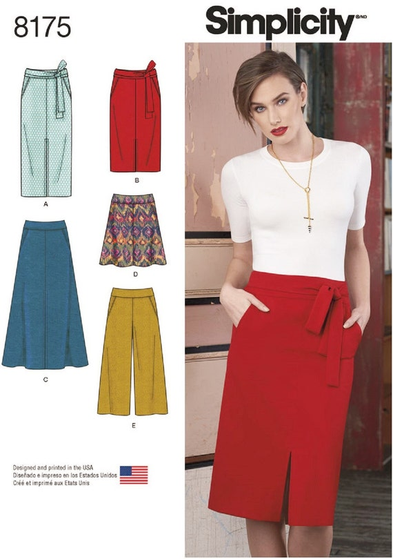 Slim Skirt Pattern, Flared Skirt Pattern, Wide Leg Cropped Pants Pattern, Simplicity Sewing Pattern 8175
