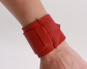 Genuine Red Leather Arrow Cuff Bracelet