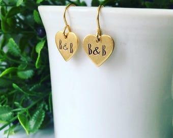 You & Me earrings; initial earrings; custom earrings; gold earrings; heart earrings